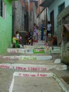 First day of stair painting in Cidade das Crianças favela