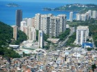 Landscape images from above show the size of the favela, as well as prime location.