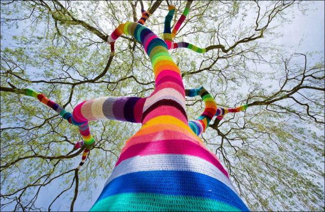 Tree Yarn Bomb