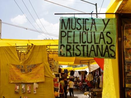 Sex shop and Christian music at El Tepito. (Credit: J. Renteria)