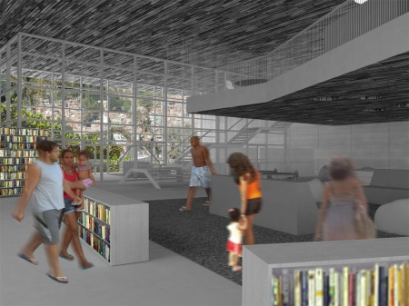 Library rendering expressing the link between books, people, and their world.