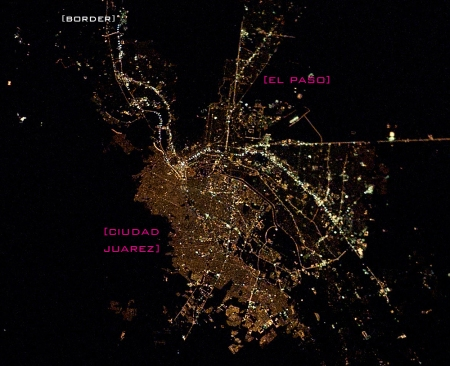 Night lights: El paso + Ciudad Juarez; source: eol.jsc.nassa.gov