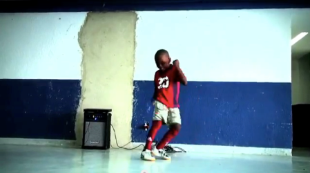 "Scene from the new documentary ""Batalha do Passinho"" featuring the 9-year-old champion, Christian."