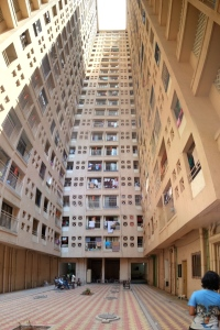 View from the Internal courtyard of the Vighnaharta Co-op Housing Society Ltd., (Redeveloped Chawl building) Lalbaug, Parel, Mumbai