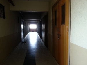 Internal corridor of the redeveloped chawl building, Vighnaharta Co-op Housing Society Ltd., Lalbaug, Parel, Mumbai