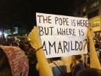 Protestors made sure that the disappearance of Amarildo a short time before the Pope visited Rio de Janeiro became international news. [photo by Tucker Landesman]