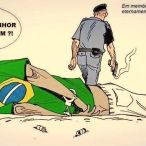 "This is a political cartoon by Latuff that memorializes Douglas Rodrigues, shot dead by military police in São Paulo in a poor neighborhood on the periphery of the city. Rodrigues was shot by a police officer without cause. The police officer has claimed that his gun misfired. Among the last words of the 17 year old adolescent were ""Sir, why did you shoot me?"" he asked directly to the police officer as he lay dying on the pavement. Violence affects black and brown men and boys at an alarmingly disproportionate rate in Brazil. According to Amnesty International nearly 9 thousand youths between the ages of 9 and 19 were murdered in Brazil during 2012. And over the past decade thousands have been killed, tortured or disappeared by the military police. [more cartoons by Latuf can be found here: http://latuffcartoons.wordpress.com/]"