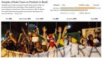 """This infographic printed by the New York Times Online (22 July 2013) is a curious example of journalistic attempt to explain complex social phenomena through simplistic economic reasoning (if I had a nickle for every time...). The message here, that the protests are fueled or caused by the """"new middle class'"""" disenchantment with high prices on consumer goods, was common in the international media (although it was mostly ignored by Brazilians). While there are some valid commentary about disaffected middle class youth participating in the protests because it was 'the thing to do that week in June,' by the third week of July (when this photo was shot) the protestors were organized with focused demands. And I have never--not once--seen a placard or heard a chant or a speech in which a Brazilian protestor complained about how much their cellphone cost during a march or demonstration."""