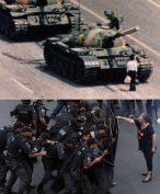 The image of a middle age teacher; vulnerable yet indignant, pointing her foreboding finger at a group of armed and shielding police officers; went viral almost as soon as it was uploaded to the internet. It was published on the cover of newspapers and was shared and tweeted and retweeted and used to create memes, such as this one; comparing the courageous teacher to the lone activist that stared down tanks at Tienanmen Square. Even as the public slowly wearied of the prolonged teacher strike, the police violence on that particular day of teacher demonstrations in Rio de Janeiro resulted in widespread outrage against the Military Police and the Governor. [image found on facebook]