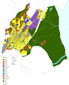 "The Existing Land Use plan for the N-Ward, Mumbai shows typical reservations, with portions of the plan marked in brown—signifying ""Slum/Cluster"". Source: http://mcgm.gov.in/"