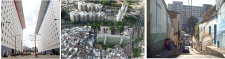 Izquierda: Bloques de Montalban, foto archivo correo del Orinoco, 2013. Centro y Derecha: Vista aérea y perspectiva interna de Bloques en la ciudad de Caracas