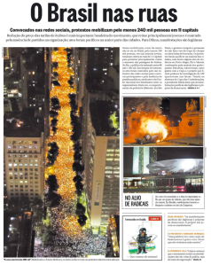 Front page of O Globo newspaper after Rio's first major street march in June 2013.