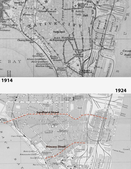 Maps from 1914 and 1924 showing new East West Streets meant to ventilate the city with breeze from the sea