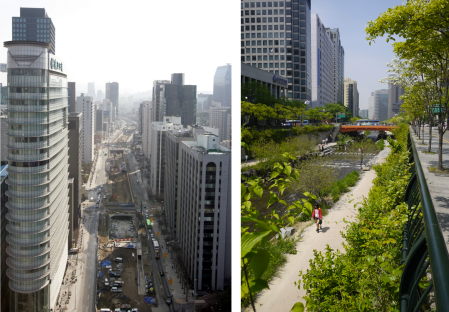 A before-and-after shot of Cheonggyecheon. Image courtesy of Reuters (left); Bankoo/Shutterstock.com (right)