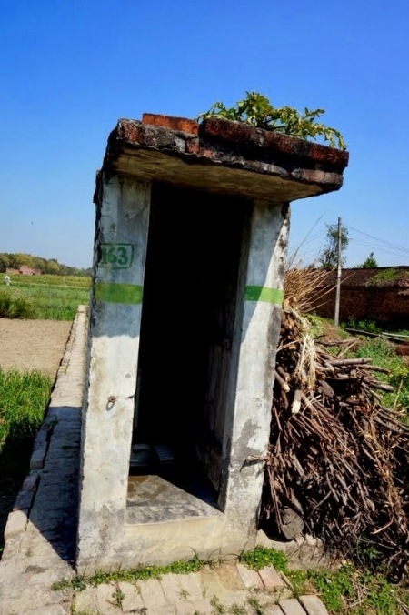 Pit toilet in Rural India